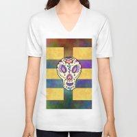 sugar skull V-neck T-shirts featuring Sugar Skull by Linda Tomei