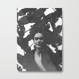 Frida beyond palm leaves Metal Print