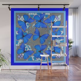 Decorative Blue Shades Butterfly Grey Pattern Art Wall Mural