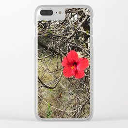 Being Alive - Red Hibiscus Flower Clear iPhone Case