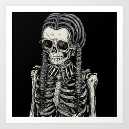 Wednesday Skeleton Art Print