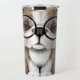 Cute English Bulldog Puppy Wearing Glasses on Blue Travel Mug