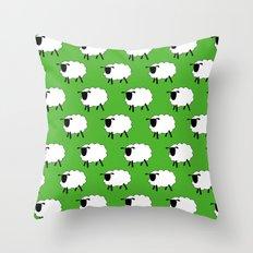 Flock of Cartoon Sheep Throw Pillow