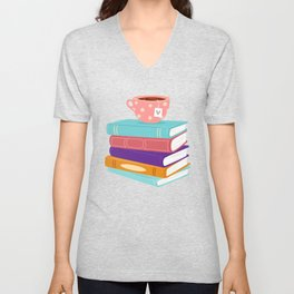 Tea and Books Lovers product Geek Nerdy Bookworm Gift Unisex V-Neck