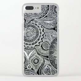 White Pen Mandala Collage Clear iPhone Case