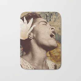 Billie Holiday Vintage Mixed Media Art Collage Bath Mat