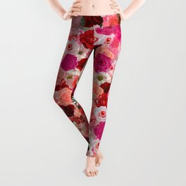 pink floral pattern Leggings