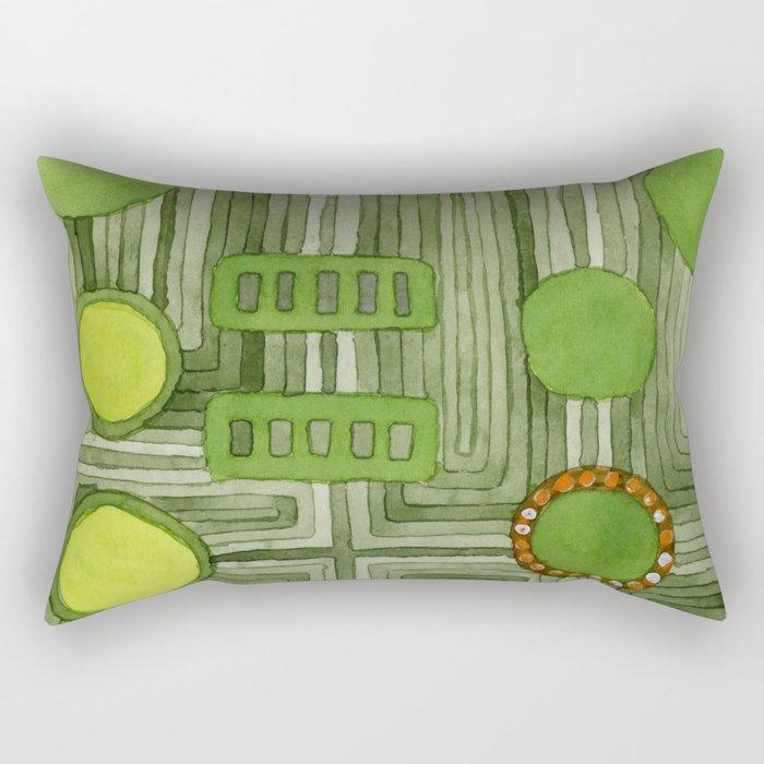 Embedded in Green Rectangular Pillow