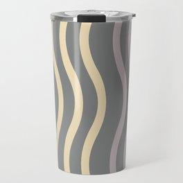 Pastel Grey Waves Pattern Travel Mug