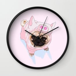Pug Pig Costume Wall Clock