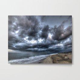 Walking Towards The Storm Huntington Beach, California Metal Print