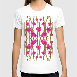 "FUCHSIA PINK ""ROSES & THORNS"" WHITE ART T-shirt"