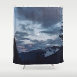 quietly, moon Shower Curtain