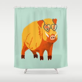 Benevolent Funny Boar Pig Shower Curtain