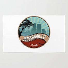 Jacksonville City Skyline Design Florida Retro Vintage 80s Rug