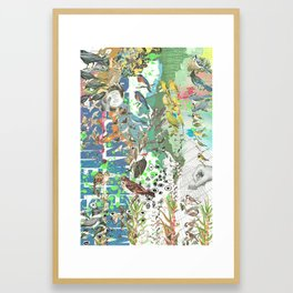Bird Grid Paste Up 2 Framed Art Print