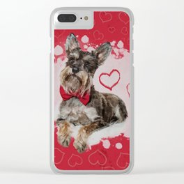 Cute Schnauzer on Hearts Pattern Clear iPhone Case