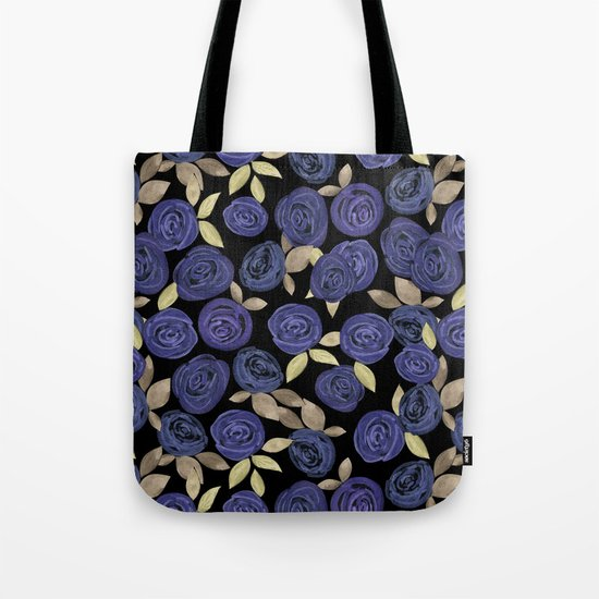 Blue watercolor roses on a black background . Tote Bag