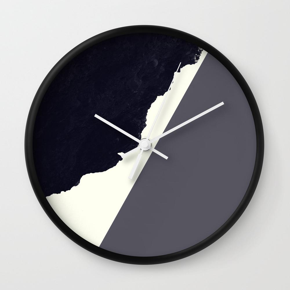 Contemporary Minimalistic Black And White Art Wall Clock By Blackstrawberry Society6