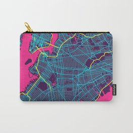 New York Neon City Map, New York Minimalist City Map Carry-All Pouch