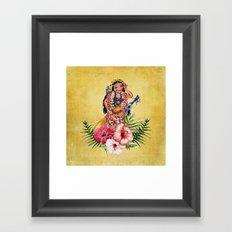 Hula Doll With Ukelele and Big Pink Flowers Framed Art Print