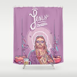 Jesus Nightlife Shower Curtain