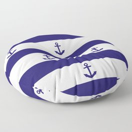 Navy Blue Stripes and Anchors 2 Floor Pillow