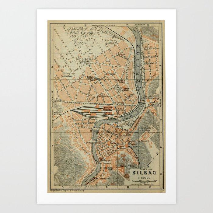 Bilbao On Map Of Spain.Vintage Bilbao Spain Map 1913 Art Print By Bravuramedia