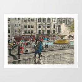 Walking in Trafalgar Square Art Print
