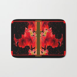 Festive Red Amaryllis on Black  Bath Mat