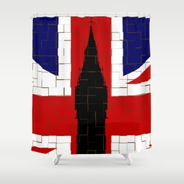Union Flag With Big Ben Tiled Shower Curtain