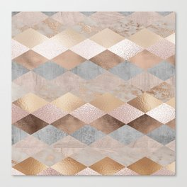 Copper and Blush Rose Gold Marble Argyle Canvas Print