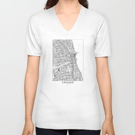 Chicago White Map Unisex V-Ausschnitt