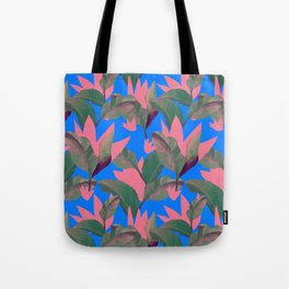 Retro Luxe Lilies Electric Blue Pattern Tote Bag