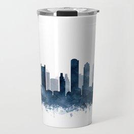 Boston City Skyline Blue Watercolor by zouzounioart Travel Mug