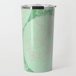 Green cercle flower Travel Mug