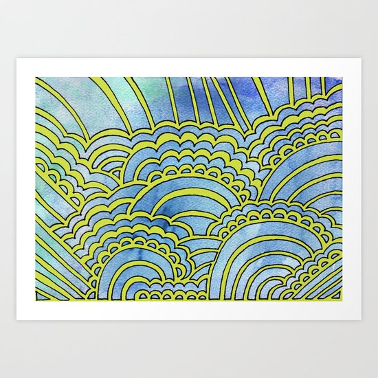Water & Color Drawing Meditation - Lime Art Print