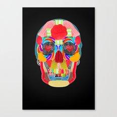 Sweet Sweet Sugar Skull On Black Canvas Print