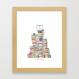 Mountain of books for booklovers (and catlovers, and tealovers). Watercolor Framed Art Print