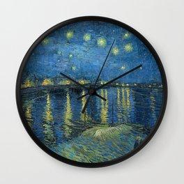 Starry night over the Rhône Wall Clock