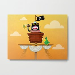 Pirate Kitten in The Crow's Nest Metal Print