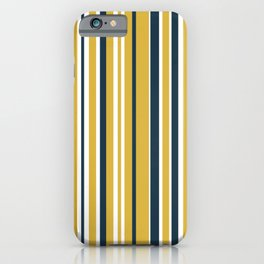 Vertical Stripes in Navy Blue, Mustard Yellow, and White iPhone Case
