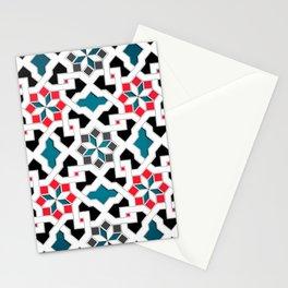Oriental Pattern - Geometric Design, red / blue / grey Stationery Cards