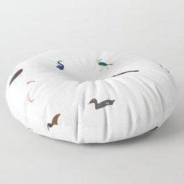 Cape Cod Birds: A Minimalist Field Guide Floor Pillow