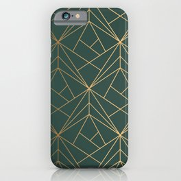 Olive Gold Geometric Pattern With White Shimmer iPhone Case