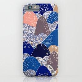 Vintage Japanese Pattern: Interpretive Ocean Waves iPhone Case
