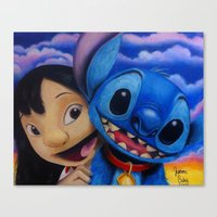 lilo and stitch Canvas Prints featuring Lilo and Stitch by Iwilldrawyourface