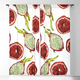 Pomegranate - Dragon Fruit Pattern White Blackout Curtain
