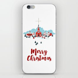 Merry Christmas Vintage Church Drawing iPhone Skin