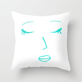 Teal Green Sleeping Beauty Minimalist Abstract Womankind Minimal Line Drawing Womans Face Throw Pillow
